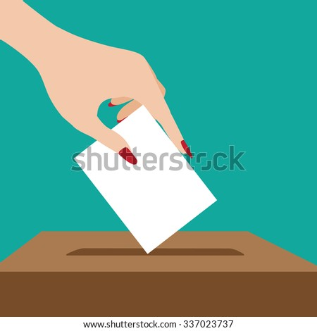 Woman voting flat design.  - stock photo