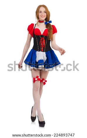 Woman waitress in octoberfest concept - stock photo