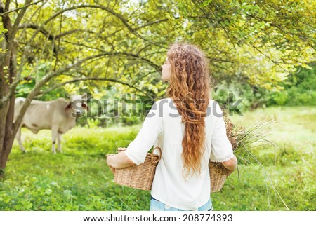 Woman walking to feed her cow - stock photo