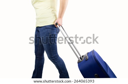 woman walking travel bag over white background - stock photo