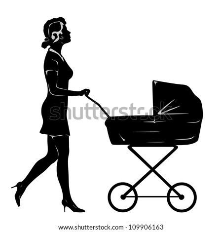 Woman walking with pram. Silhouette with grey elements on white background. - stock photo