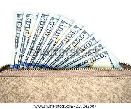 woman wallet with money  isolated on white background - stock photo