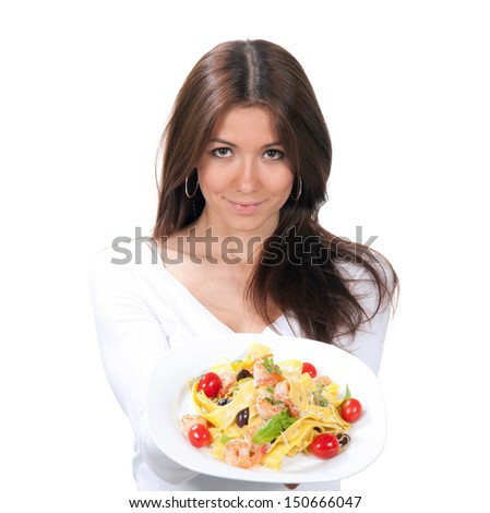 Woman wants to eat spaghetti pasta with shrimps Italian food on a white background - stock photo