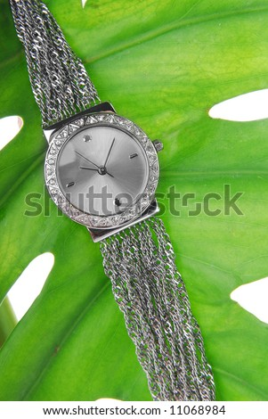 Woman watch close-up with leaf - stock photo