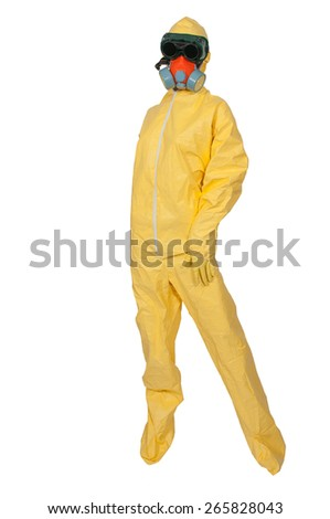 Woman wearing a hazmat suit in the face of infectious disease - stock photo