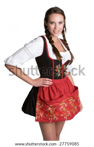 Woman Wearing Dirndl - stock photo