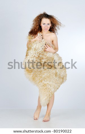 Woman wearing fur - stock photo