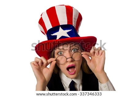 Woman wearing hat with american symbols  - stock photo