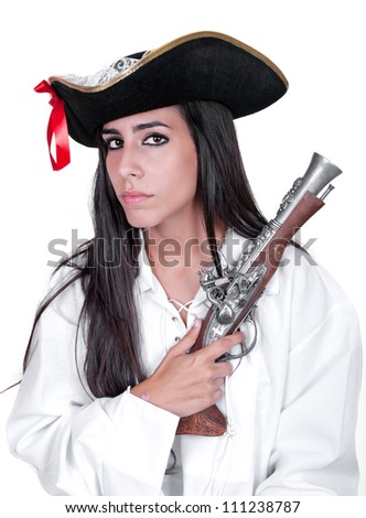 Woman wearing pirate costume on white background - stock photo