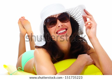 Woman wearing sunglasses and a hat. Summer vacation. - stock photo