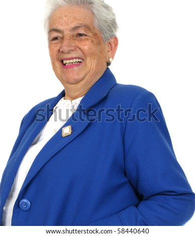 Woman whit big smile over white background. - stock photo
