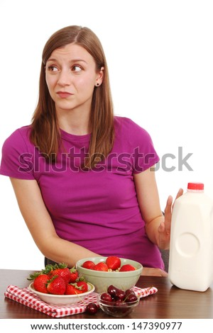 Woman who does not like milk - stock photo