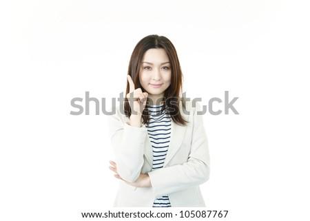 Woman who hits on good idea - stock photo