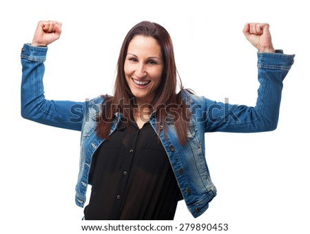 woman winning gesture - stock photo