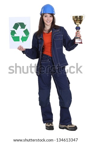 Woman winning price for environmental awareness - stock photo