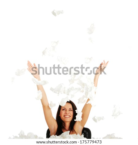 Woman winning with sickness - throwing tisues with big smile - stock photo