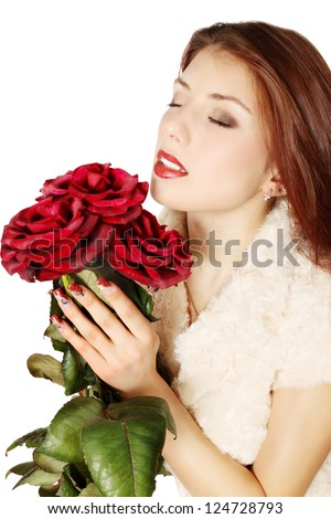Woman with a bouquet of roses on a white background - stock photo