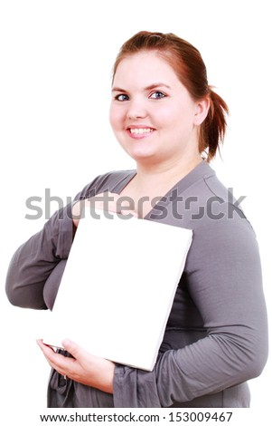 Woman with a canvas - stock photo