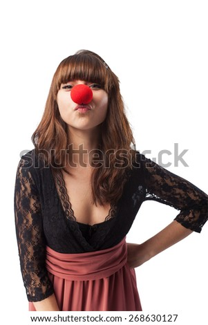 woman with a clown nose - stock photo