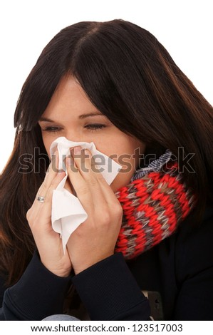 Woman with a cold / flu epidemic - stock photo