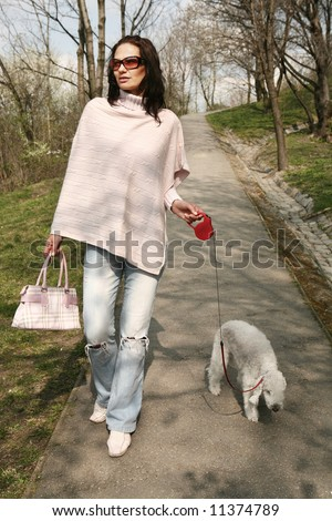 Woman with a dog taking a walk in the park - stock photo