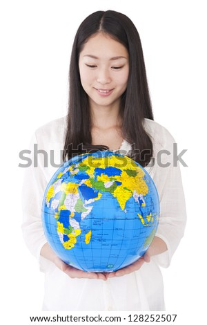 Woman with a globe - stock photo