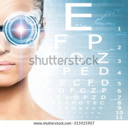 Woman with a laser on her eyes (ophthalmology, optometry and eye scanning technology) - stock photo