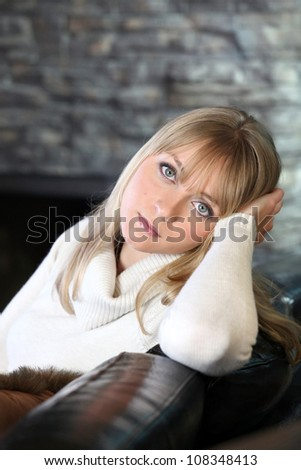 Woman with a neutral expression - stock photo