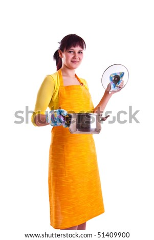 woman with a pot - stock photo