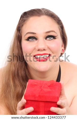 Woman with a red Valentine's box - stock photo