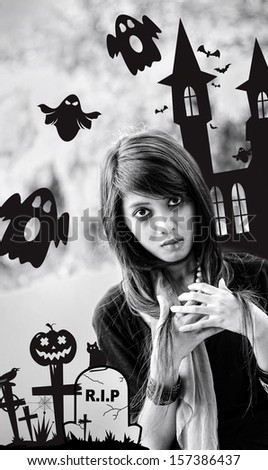 woman with a scary Halloween concept - stock photo