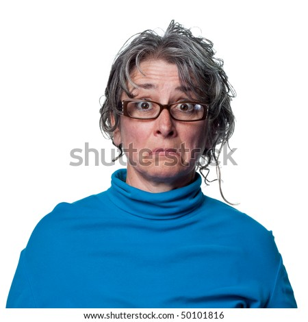 Woman with a shocked and sad reaction - stock photo