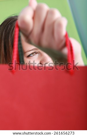 Woman with a shopping bag - stock photo