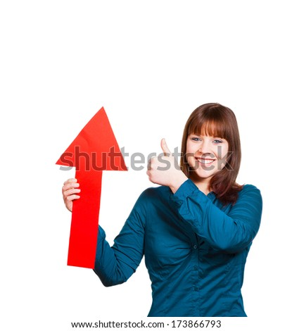 Woman with an arrow is thinking positive - stock photo