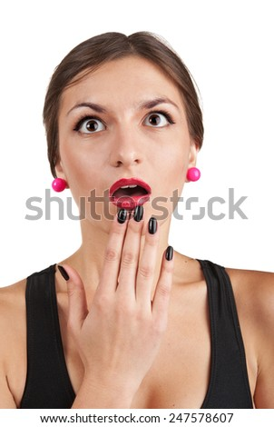 Woman with an expression of surprise on his face.Portrait on white background. - stock photo