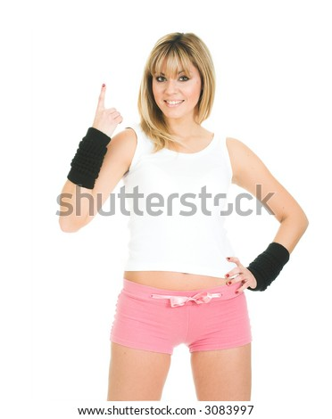 Woman with an idea. Woman advertising generic product - stock photo