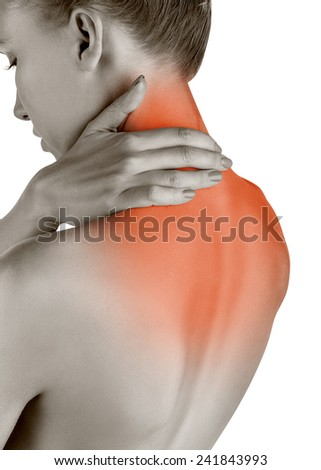 Woman with backache isolated on white background - stock photo