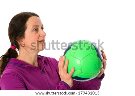 woman with ball - stock photo