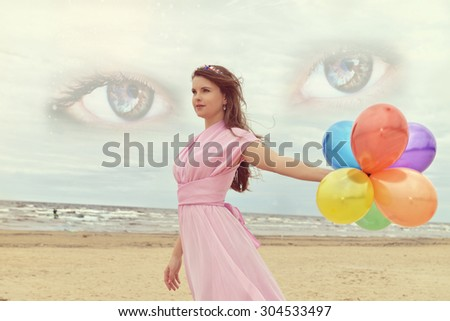 Woman with baloons,Eyes of the Universe, space Eye, live space - stock photo