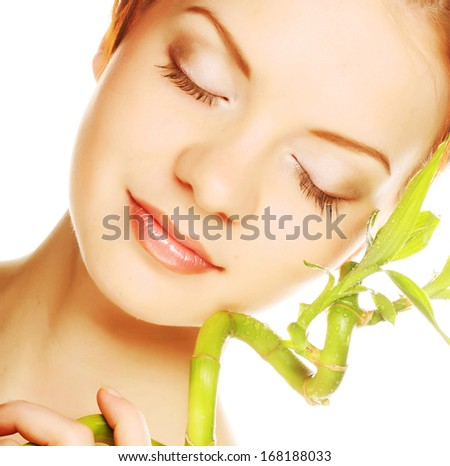 woman with bamboo - stock photo