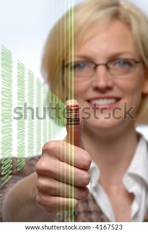 Woman with bar code imprinted on her thumb and laser beams - stock photo