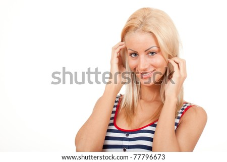 woman with beautiful hair - stock photo
