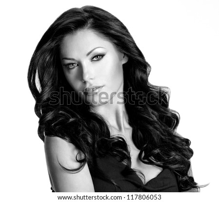 Woman with beauty long brown hair. Black or white image - stock photo