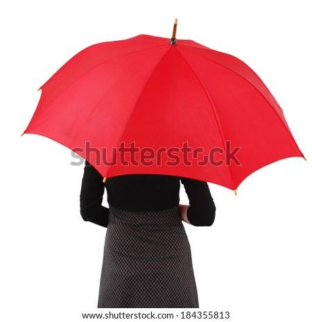Woman with big umbrella, on white - stock photo