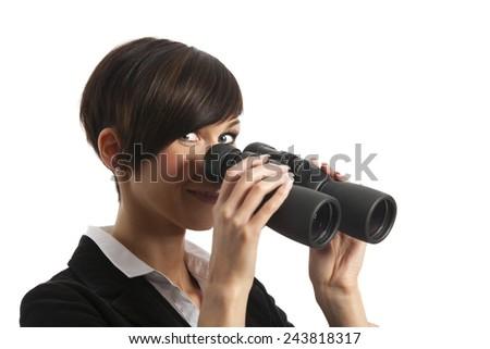 woman with binoculars  - stock photo