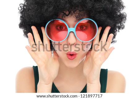Woman with black afro and glasses - stock photo