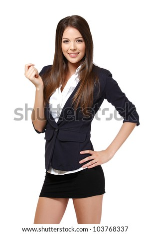 woman with blank card isolated on white - stock photo