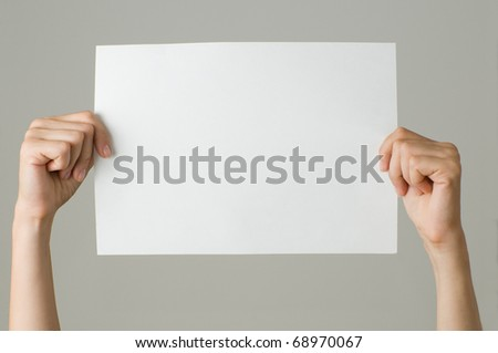 woman with blank paper - stock photo
