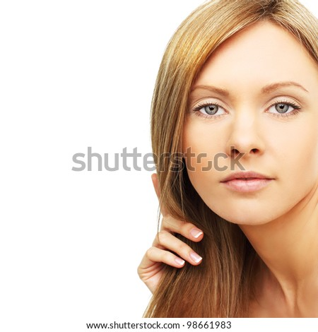 Woman with blond hair isolated on white - stock photo