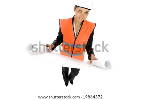 Woman with Blueprints - stock photo